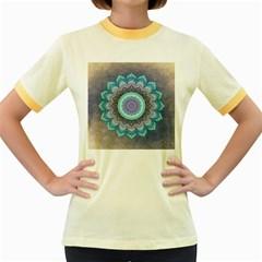 Folk Art Lotus Mandala Blue Turquoise Women s Fitted Ringer T Shirts