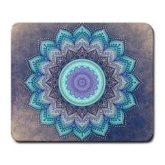 Folk Art Lotus Mandala Blue Turquoise Large Mousepads by EDDArt