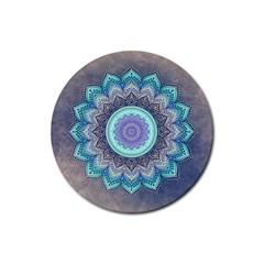 Folk Art Lotus Mandala Blue Turquoise Rubber Coaster (round)