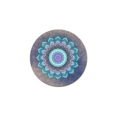 Folk Art Lotus Mandala Blue Turquoise Golf Ball Marker (4 Pack) by EDDArt