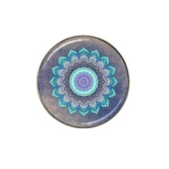 Folk Art Lotus Mandala Blue Turquoise Hat Clip Ball Marker by EDDArt