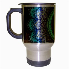 Folk Art Lotus Mandala Blue Turquoise Travel Mug (silver Gray) by EDDArt