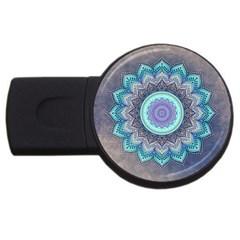 Folk Art Lotus Mandala Blue Turquoise Usb Flash Drive Round (4 Gb) by EDDArt