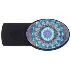 Folk Art Lotus Mandala Blue Turquoise Usb Flash Drive Oval (4 Gb) by EDDArt