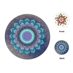 Folk Art Lotus Mandala Blue Turquoise Playing Cards (round)  by EDDArt