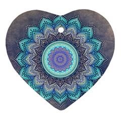 Folk Art Lotus Mandala Blue Turquoise Heart Ornament (two Sides) by EDDArt