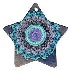 Folk Art Lotus Mandala Blue Turquoise Star Ornament (two Sides) by EDDArt