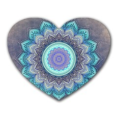 Folk Art Lotus Mandala Blue Turquoise Heart Mousepads by EDDArt