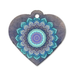 Folk Art Lotus Mandala Blue Turquoise Dog Tag Heart (two Sides) by EDDArt