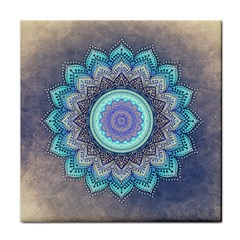 Folk Art Lotus Mandala Blue Turquoise Face Towel by EDDArt