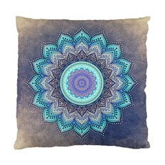 Folk Art Lotus Mandala Blue Turquoise Standard Cushion Case (one Side) by EDDArt
