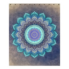 Folk Art Lotus Mandala Blue Turquoise Shower Curtain 60  X 72  (medium)