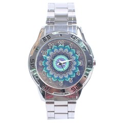 Folk Art Lotus Mandala Blue Turquoise Stainless Steel Analogue Watch