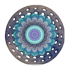 Folk Art Lotus Mandala Blue Turquoise Round Filigree Ornament (two Sides) by EDDArt