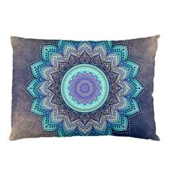 Folk Art Lotus Mandala Blue Turquoise Pillow Case (two Sides) by EDDArt
