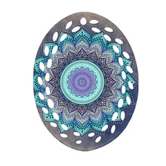 Folk Art Lotus Mandala Blue Turquoise Ornament (oval Filigree) by EDDArt