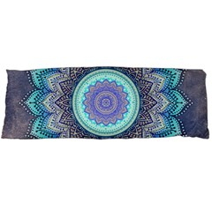 Folk Art Lotus Mandala Blue Turquoise Body Pillow Case Dakimakura (two Sides) by EDDArt