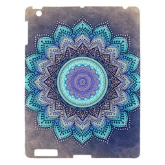 Folk Art Lotus Mandala Blue Turquoise Apple Ipad 3/4 Hardshell Case by EDDArt