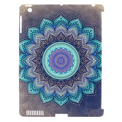 Folk Art Lotus Mandala Blue Turquoise Apple Ipad 3/4 Hardshell Case (compatible With Smart Cover) by EDDArt