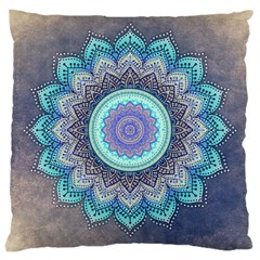 Folk Art Lotus Mandala Blue Turquoise Large Cushion Case (one Side) by EDDArt