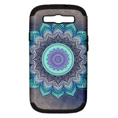 Folk Art Lotus Mandala Blue Turquoise Samsung Galaxy S Iii Hardshell Case (pc+silicone) by EDDArt