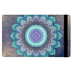 Folk Art Lotus Mandala Blue Turquoise Apple Ipad 3/4 Flip Case by EDDArt