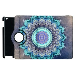 Folk Art Lotus Mandala Blue Turquoise Apple Ipad 3/4 Flip 360 Case by EDDArt