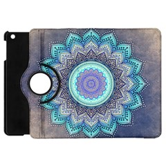 Folk Art Lotus Mandala Blue Turquoise Apple Ipad Mini Flip 360 Case by EDDArt