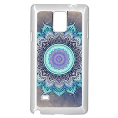 Folk Art Lotus Mandala Blue Turquoise Samsung Galaxy Note 4 Case (white) by EDDArt