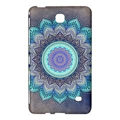 Folk Art Lotus Mandala Blue Turquoise Samsung Galaxy Tab 4 (7 ) Hardshell Case  by EDDArt