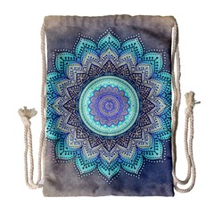 Folk Art Lotus Mandala Blue Turquoise Drawstring Bag (large) by EDDArt