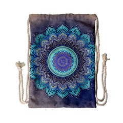 Folk Art Lotus Mandala Blue Turquoise Drawstring Bag (small) by EDDArt