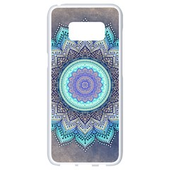 Folk Art Lotus Mandala Blue Turquoise Samsung Galaxy S8 White Seamless Case