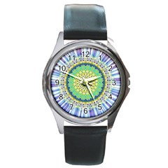 Power Mandala Sun Blue Green Yellow Lilac Round Metal Watch by EDDArt