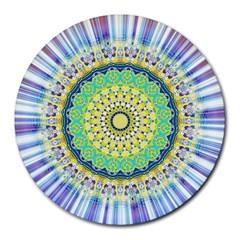 Power Mandala Sun Blue Green Yellow Lilac Round Mousepads by EDDArt