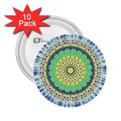Power Mandala Sun Blue Green Yellow Lilac 2 25  Buttons (10 Pack)  by EDDArt