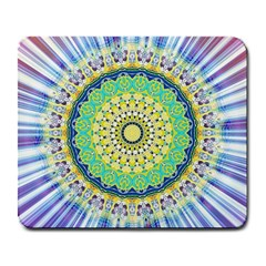 Power Mandala Sun Blue Green Yellow Lilac Large Mousepads by EDDArt