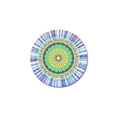 Power Mandala Sun Blue Green Yellow Lilac Golf Ball Marker (4 Pack) by EDDArt