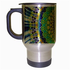Power Mandala Sun Blue Green Yellow Lilac Travel Mug (silver Gray) by EDDArt