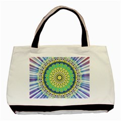 Power Mandala Sun Blue Green Yellow Lilac Basic Tote Bag (two Sides)