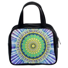 Power Mandala Sun Blue Green Yellow Lilac Classic Handbags (2 Sides) by EDDArt