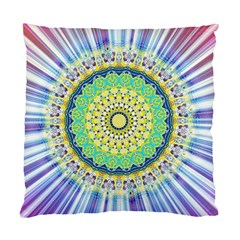 Power Mandala Sun Blue Green Yellow Lilac Standard Cushion Case (two Sides) by EDDArt