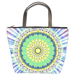 Power Mandala Sun Blue Green Yellow Lilac Bucket Bags by EDDArt