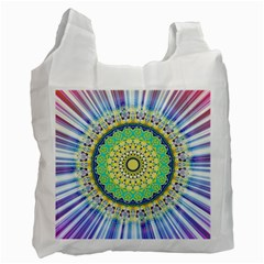 Power Mandala Sun Blue Green Yellow Lilac Recycle Bag (one Side)