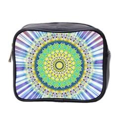 Power Mandala Sun Blue Green Yellow Lilac Mini Toiletries Bag 2 Side by EDDArt