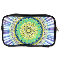 Power Mandala Sun Blue Green Yellow Lilac Toiletries Bags by EDDArt