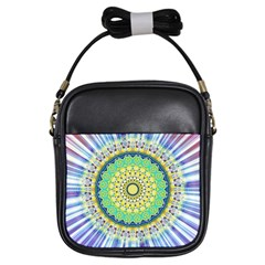 Power Mandala Sun Blue Green Yellow Lilac Girls Sling Bags by EDDArt