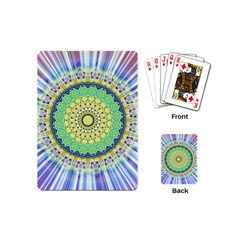 Power Mandala Sun Blue Green Yellow Lilac Playing Cards (mini)  by EDDArt