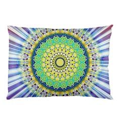 Power Mandala Sun Blue Green Yellow Lilac Pillow Case (two Sides) by EDDArt