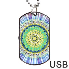 Power Mandala Sun Blue Green Yellow Lilac Dog Tag Usb Flash (one Side) by EDDArt